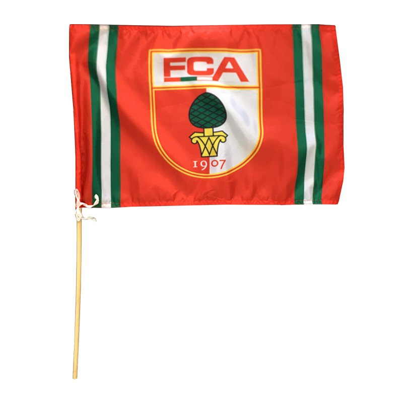 FC Augsburg Fahne Logo 40x60cm inkl. Holzstock Rot - rot