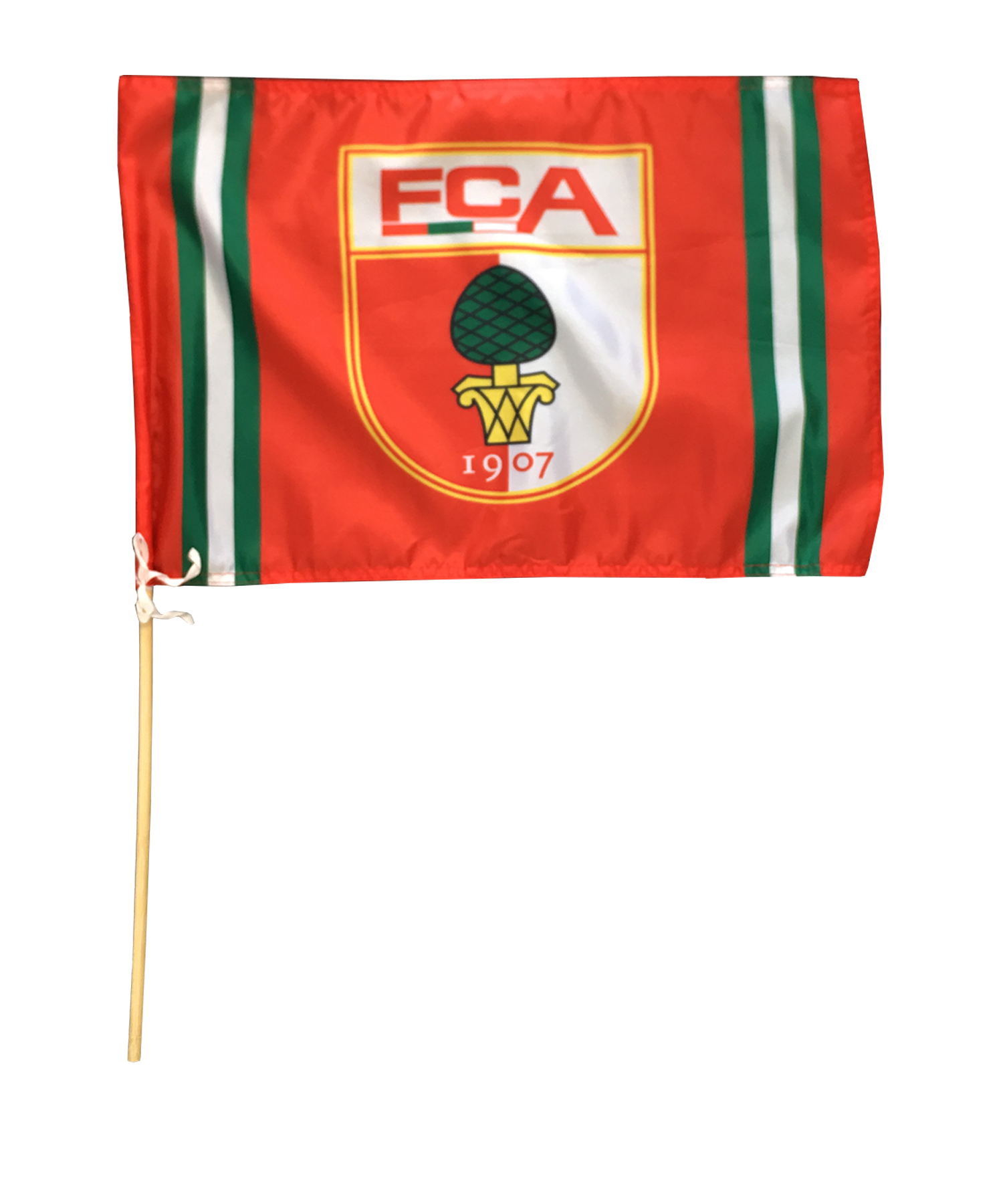 Fahne Rot Weiß Rot: FC Augsburg Fahne Logo 60x80cm Inkl. Holzstock Rot